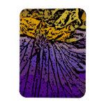 Flower power en púrpura y amarillo iman flexible