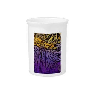 Flower power en púrpura y amarillo jarra