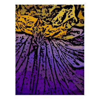 Flower power en púrpura y amarillo postal