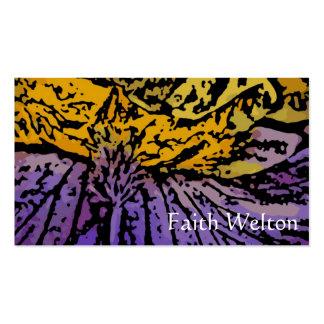Flower power en púrpura y amarillo tarjeta de visita