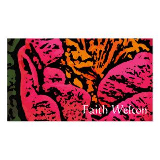 Flower power en rojo y amarillo plantilla de tarjeta de visita