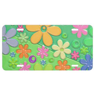 Flower power en verde placa de matrícula