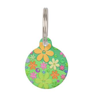 Flower power en verde placas de mascota