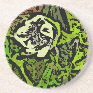 Flower power en verde posavasos personalizados
