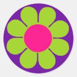 Flower power etiqueta redonda