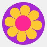 Flower power etiquetas redondas