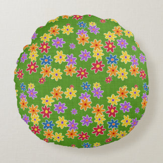 Flower Power Fabric Pattern + your ideas Round Pillow