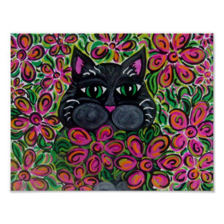 Flower Power Fat Cat  Poster