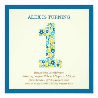 Flower Power First Birthday Invitation - Blue