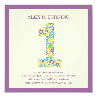 Flower Power First Birthday Invitation - Purple
