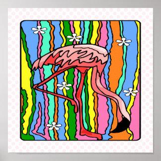 Flower-Power Flamingo Poster
