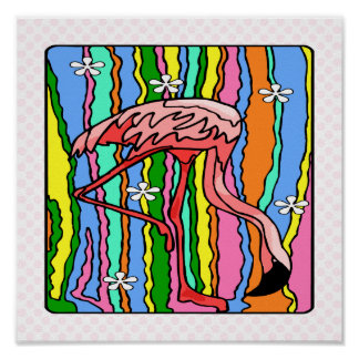 Flower-Power Flamingo Print