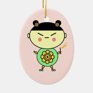 Flower Power Girl Ceramic Ornament