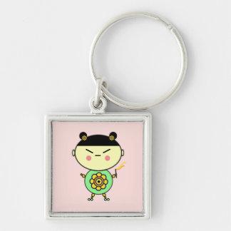 Flower Power Girl Keychain