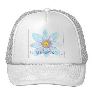 FLOWER POWER GIRL LIGHT BLUE TRUCKER HAT