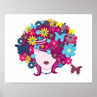 FLOWER POWER GIRLY BUTTERFLIES BEAUTY FASHION LOGO POSTER
