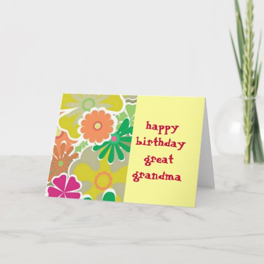 Flower Power Great Grandma Birthday Card Zazzle
