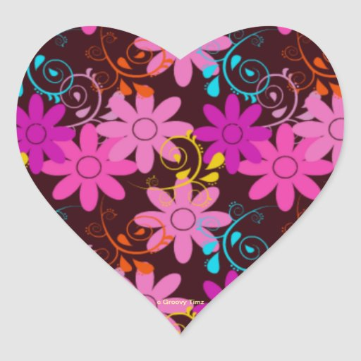 Flower Power Groovy Timz Heart Stickers - GIFTS