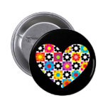 Flower Power Heart Button