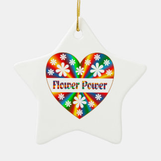 Flower Power Heart Ceramic Ornament