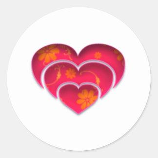Flower Power Heart Classic Round Sticker