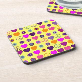 Flower Power Heart Peace Pattern + your backgr. Drink Coasters