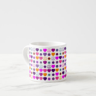 Flower Power Heart Peace Pattern + your backgr. Espresso Cup