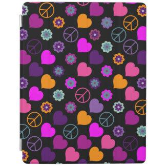Flower Power Heart Peace Pattern + your backgr. iPad Smart Cover