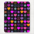 Flower Power Heart Peace Pattern + your backgr. Mouse Pad