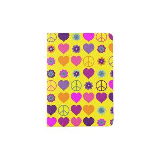 Flower Power Heart Peace Pattern + your backgr. Passport Holder