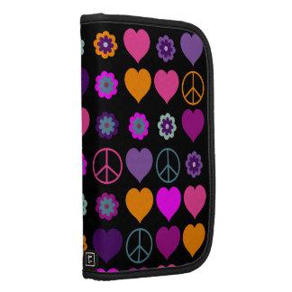 Flower Power Heart Peace Pattern + your backgr. Organizers