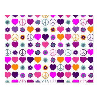 Flower Power Heart Peace Pattern + your backgr. Postcard