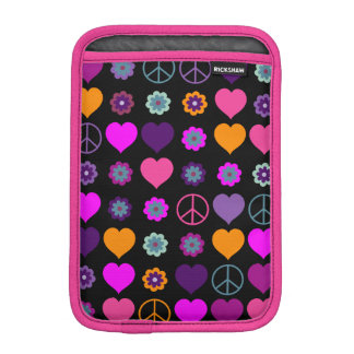 Flower Power Heart Peace Pattern + your backgr. Sleeve For iPad Mini