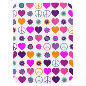 Flower Power Heart Peace Pattern   your backgr. Stroller Blanket