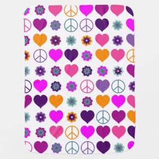 Flower Power Heart Peace Pattern + your backgr. Stroller Blanket