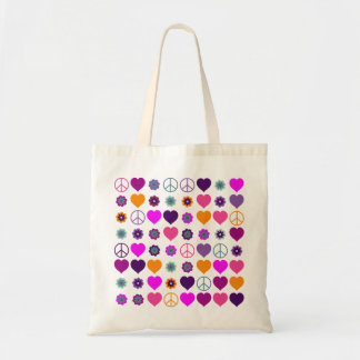 Flower Power Heart Peace Pattern + your backgr. Tote Bag