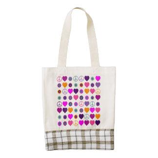 Flower Power Heart Peace Pattern + your backgr. Zazzle HEART Tote Bag