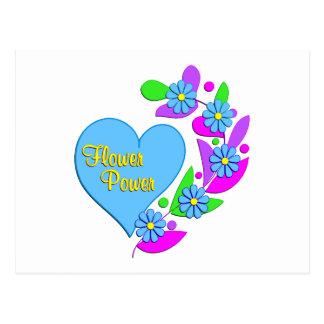 Flower Power Heart Postcard