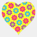 Flower Power Heart Stickers