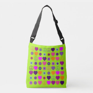 Flower Power Hearts Peace Blooms Pattern Tote Bag