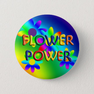 Flower Power Hippie Button