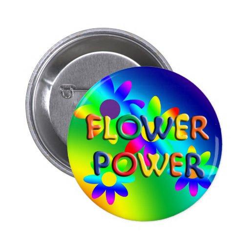 Flower Power Hippie Button