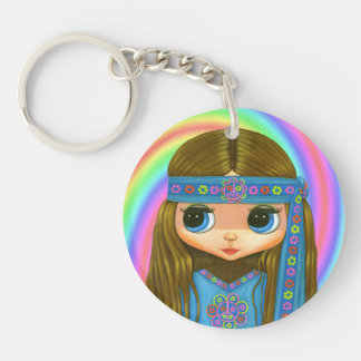 Flower Power Hippie Doll in Blue 1960s, 1970s Double-Sided Round Acrylic Keychain