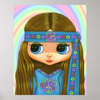 Flower Power Hippie Doll Poster