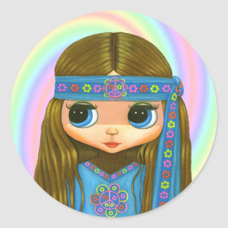 Flower Power Hippie Doll Sticker