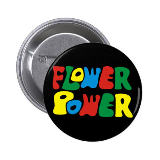 Flower power hippie pinback button