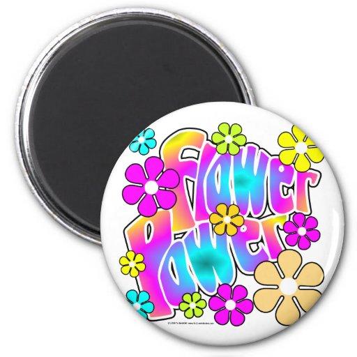Flower power imán redondo 5 cm