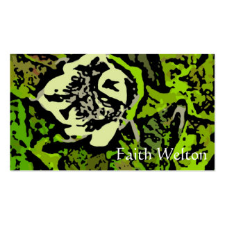 Flower Power in Green Business Card Template
