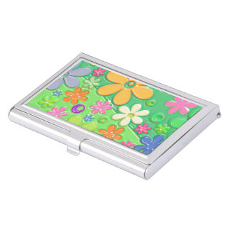 Flower Power in Green Case For Business Cards