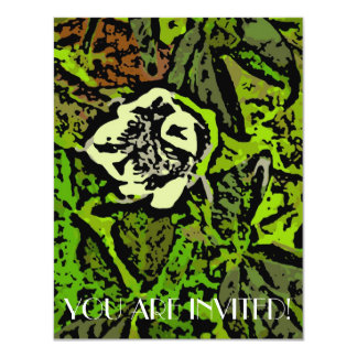 Flower Power in Green 4.25x5.5 Paper Invitation Card